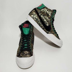 NIKE All Court Womens Gold Green High Top Sneakers